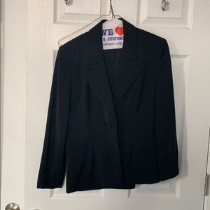 Women's black suit with shadow pinstripes